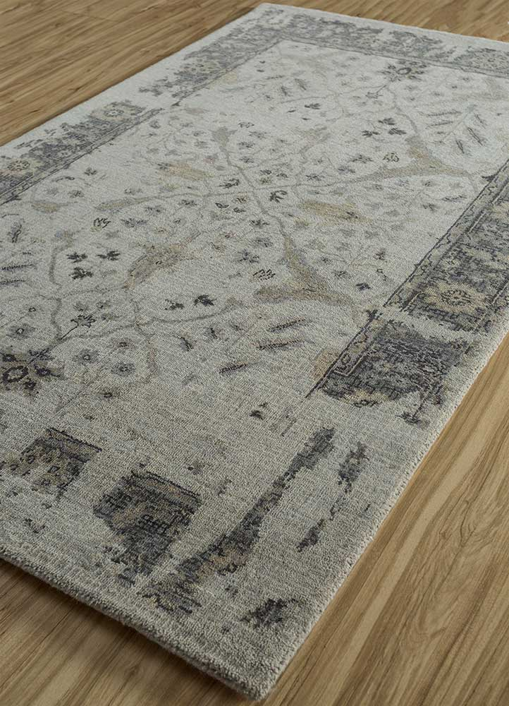 mezcla grey and black wool hand knotted Rug - FloorShot
