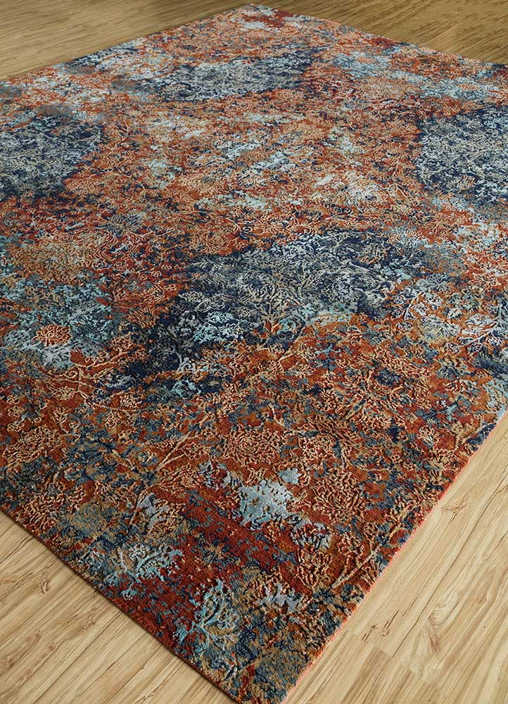 blithe red and orange wool and bamboo silk hand knotted Rug - FloorShot