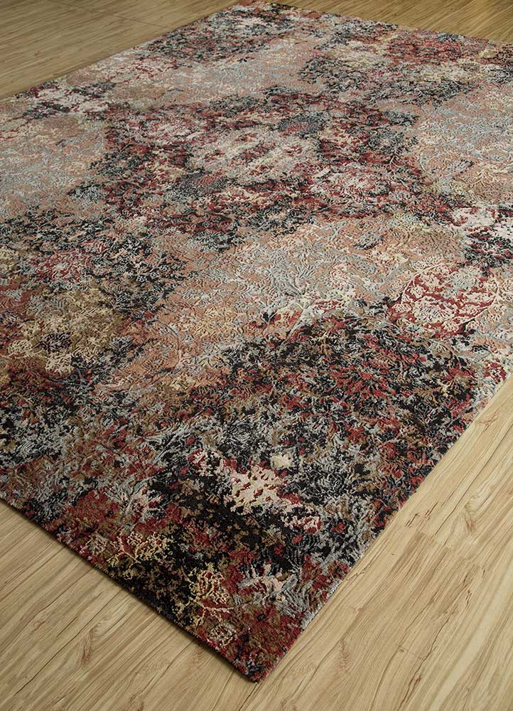 blithe blue wool and bamboo silk hand knotted Rug - FloorShot
