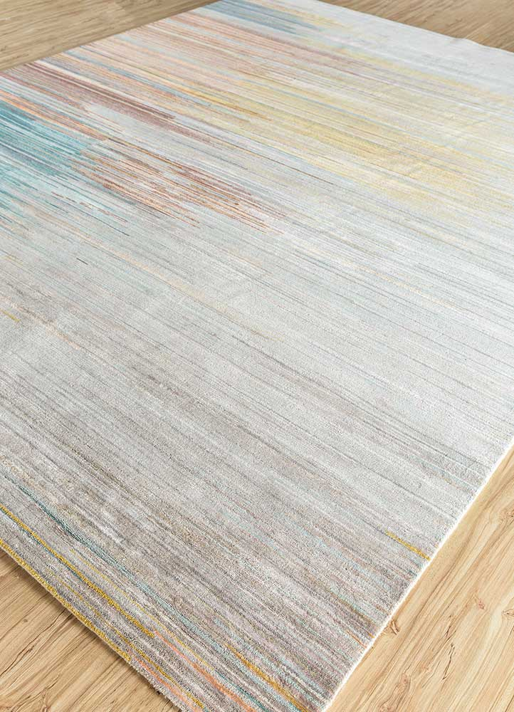 hidden by kavi ivory wool and bamboo silk hand knotted Rug - FloorShot