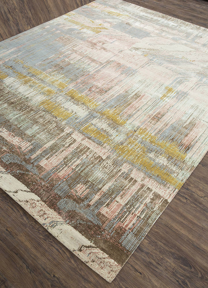 unstring by kavi ivory wool and bamboo silk hand knotted Rug - FloorShot