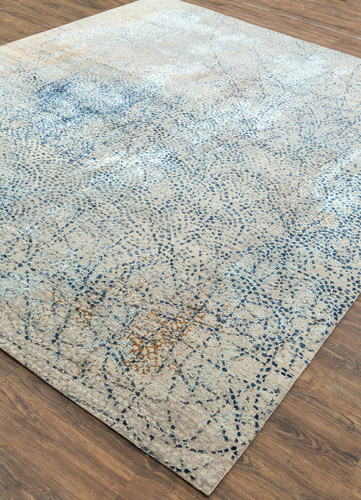 hidden by kavi grey and black wool and bamboo silk hand knotted Rug - FloorShot