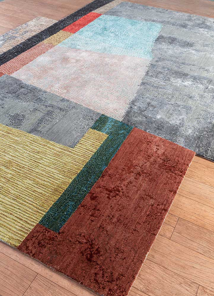 aakar by kavi grey and black wool and bamboo silk hand knotted Rug - FloorShot