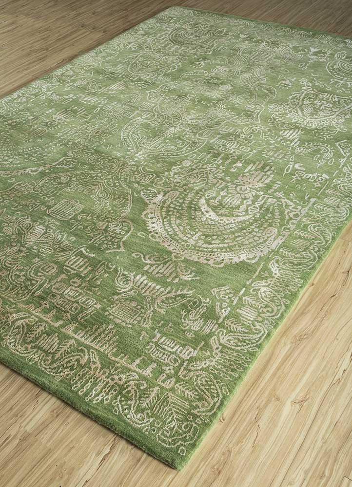 kilan green wool and viscose hand tufted Rug - FloorShot