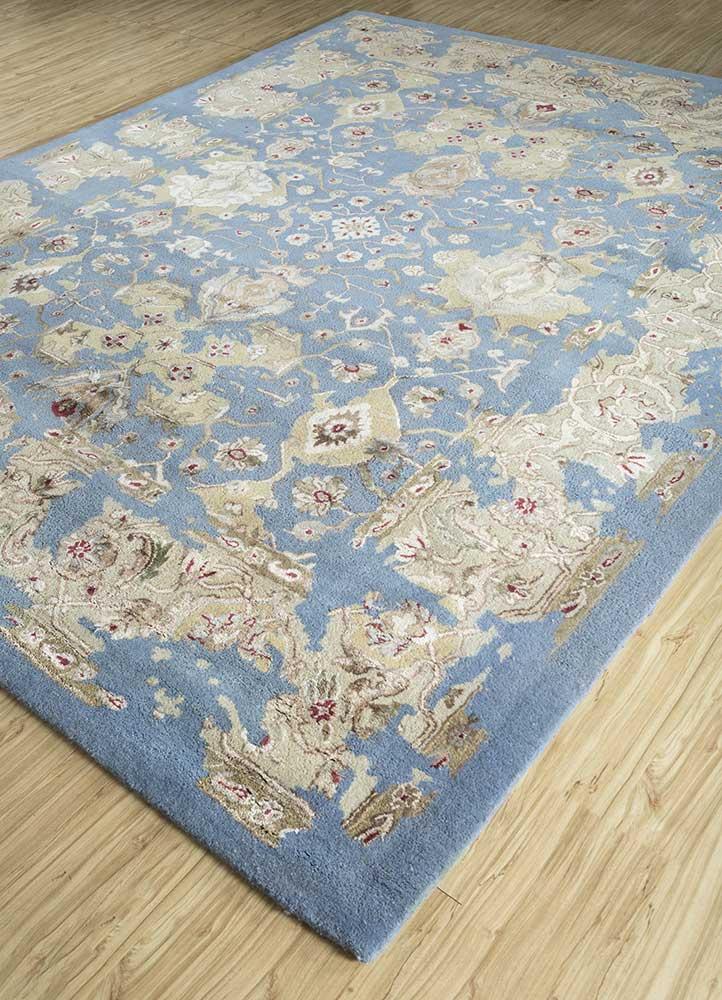 kilan blue wool and viscose hand tufted Rug - FloorShot