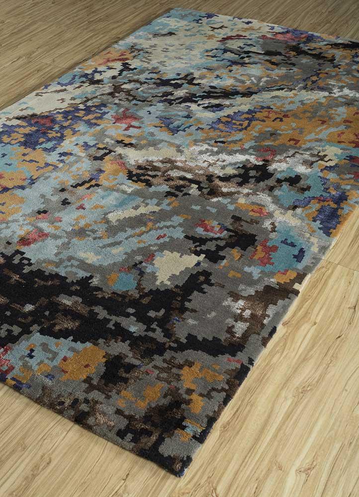 transcend blue wool and viscose hand tufted Rug - FloorShot