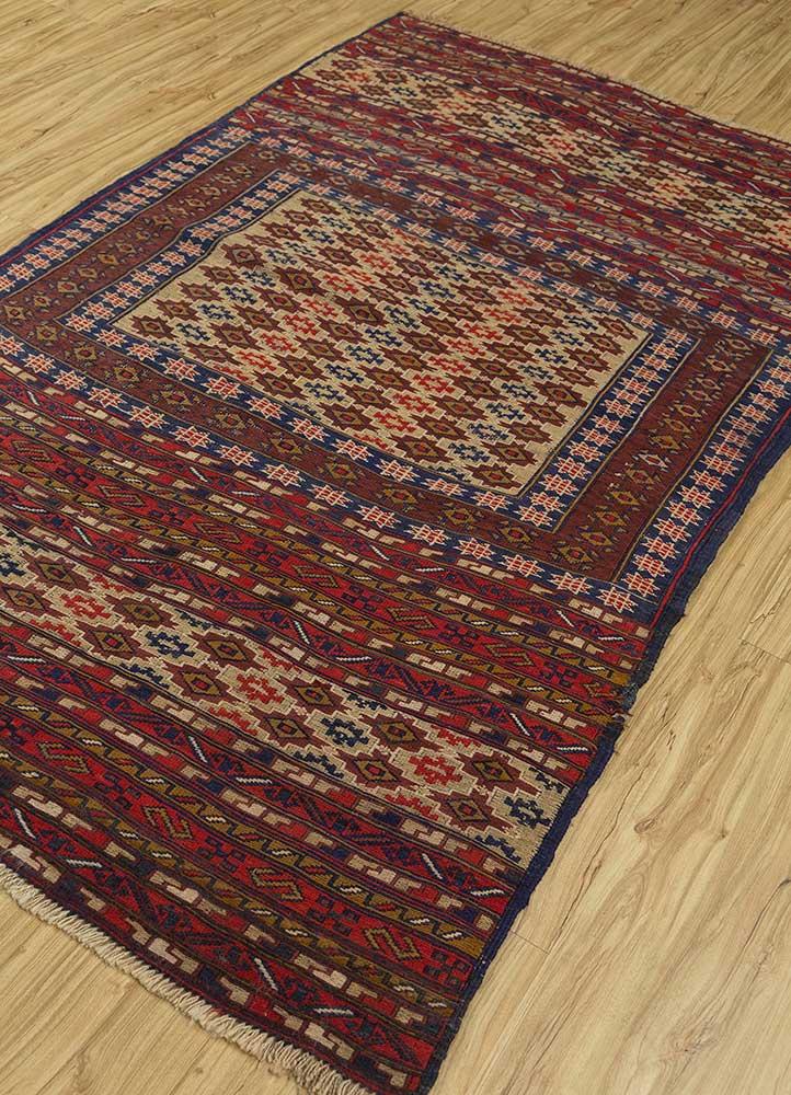 vintage beige and brown wool hand knotted Rug - FloorShot