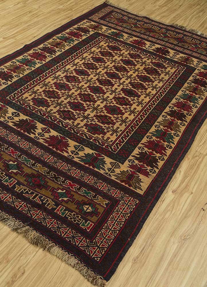 vintage gold wool hand knotted Rug - FloorShot