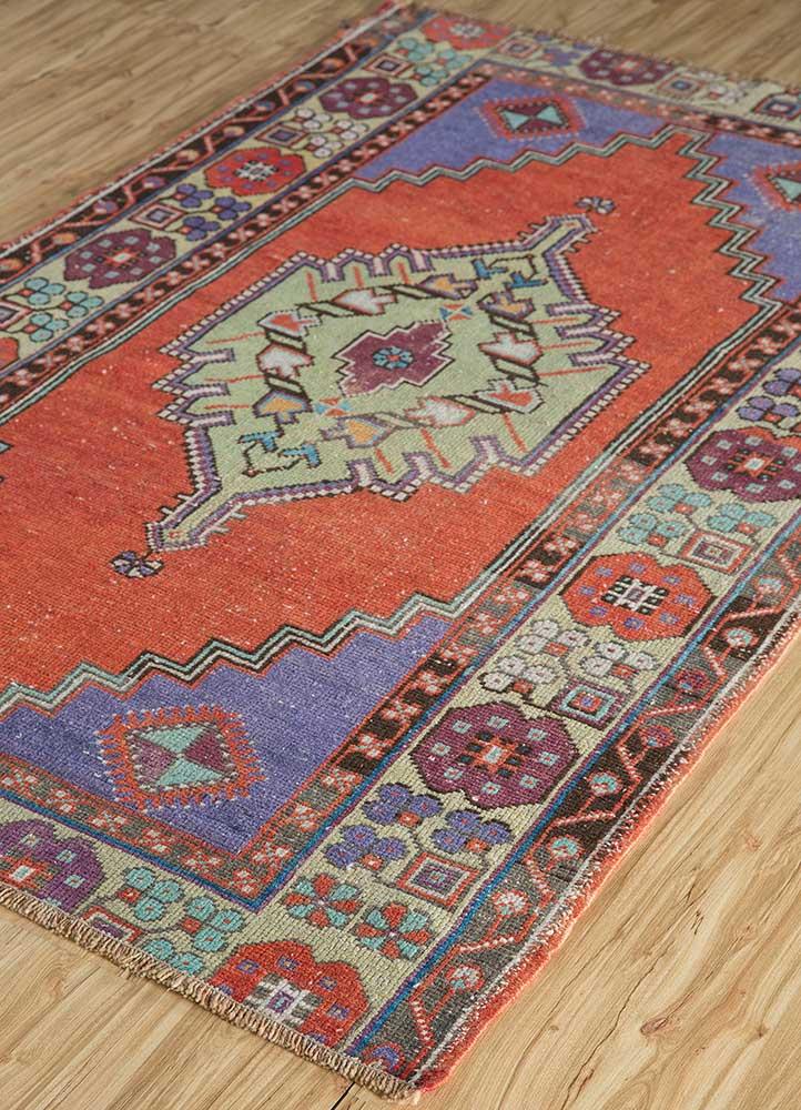 vintage red and orange wool hand knotted Rug - FloorShot