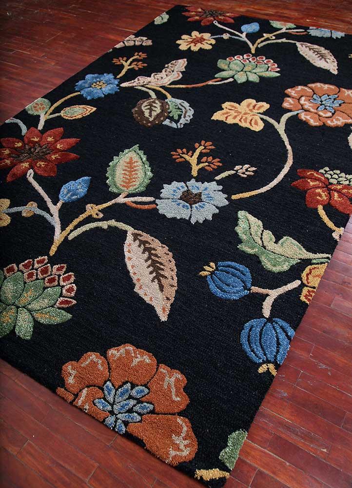 hacienda grey and black wool and viscose hand tufted Rug - FloorShot
