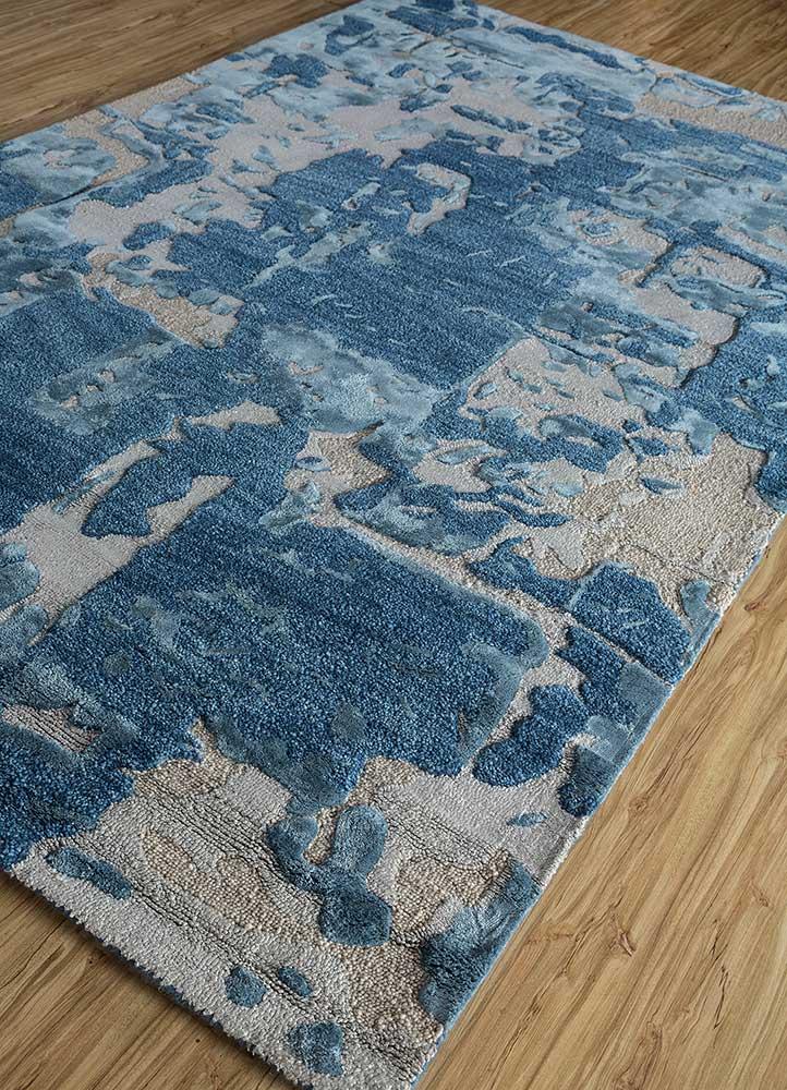 genesis blue wool and viscose hand tufted Rug - FloorShot
