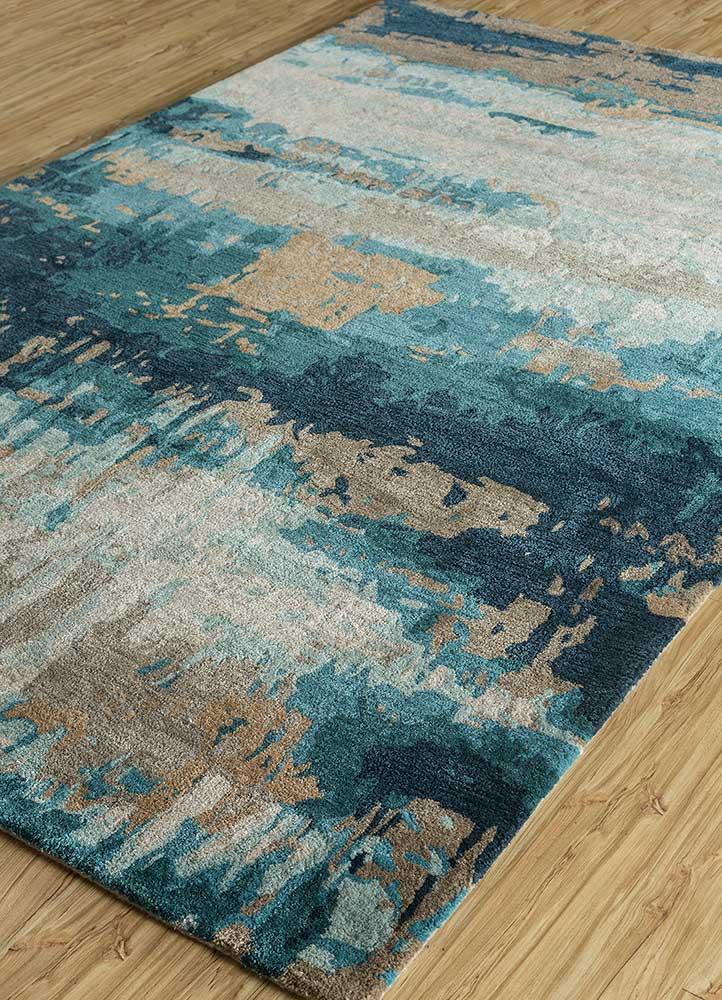 genesis beige and brown wool and viscose hand tufted Rug - FloorShot