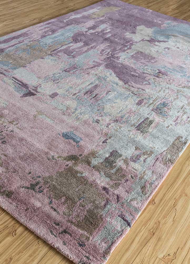 genesis pink and purple wool and viscose hand tufted Rug - FloorShot