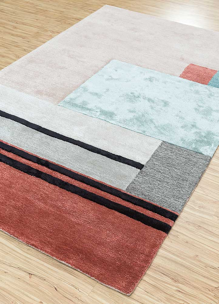 traverse red and orange wool and viscose hand tufted Rug - FloorShot