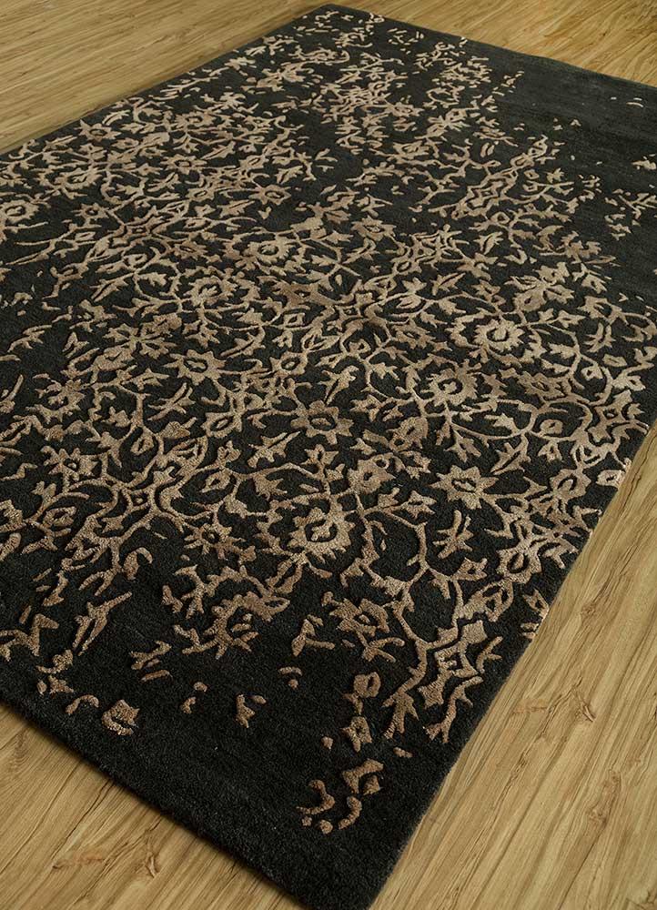 kilan grey and black wool and viscose hand tufted Rug - FloorShot