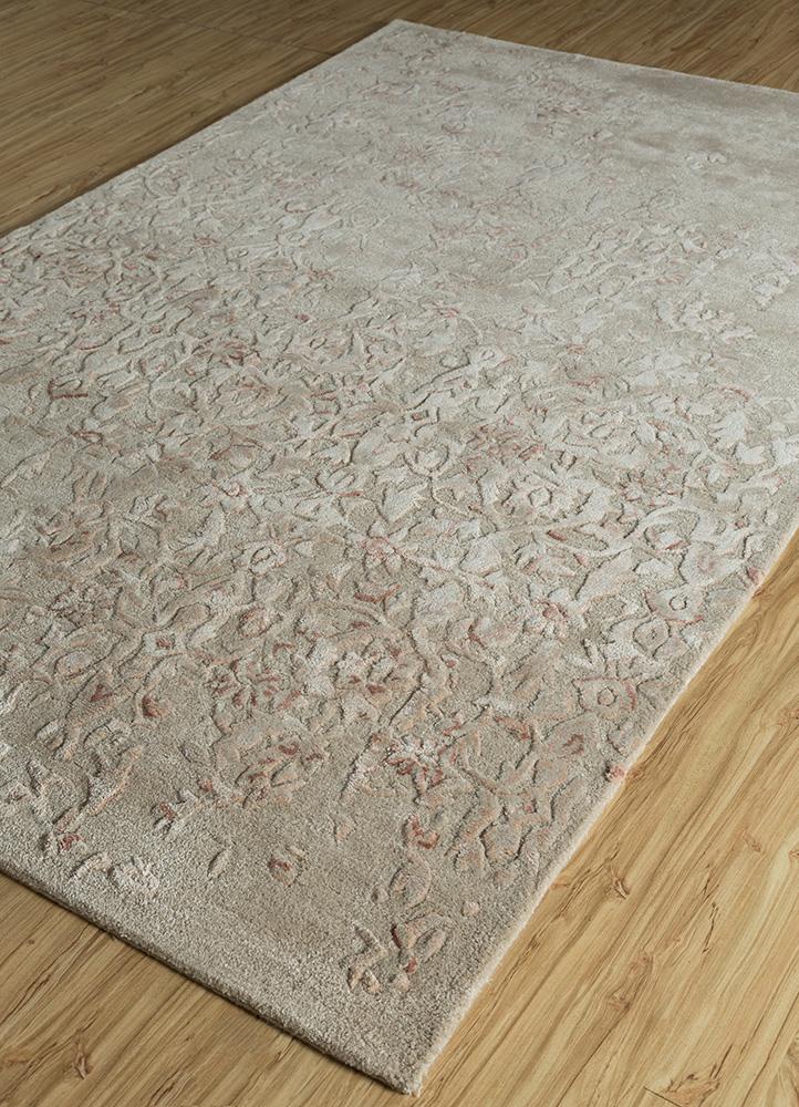 kilan ivory wool and viscose hand tufted Rug - FloorShot