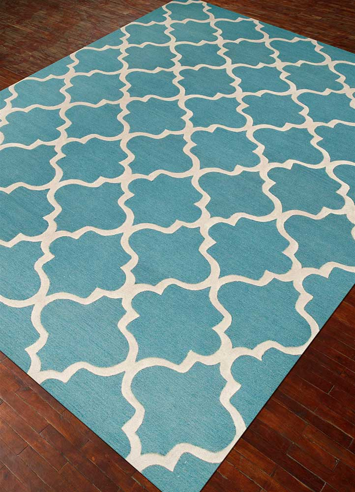 contour blue wool hand tufted Rug - FloorShot