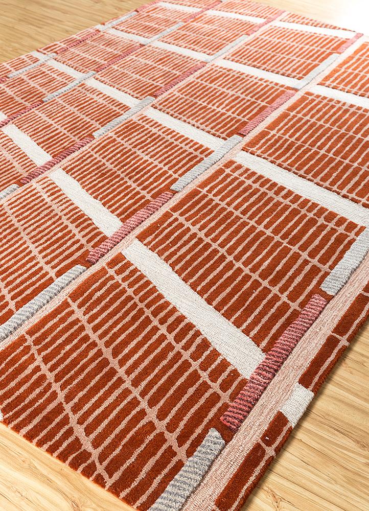 jaipur wunderkammer red and orange wool hand tufted Rug - FloorShot