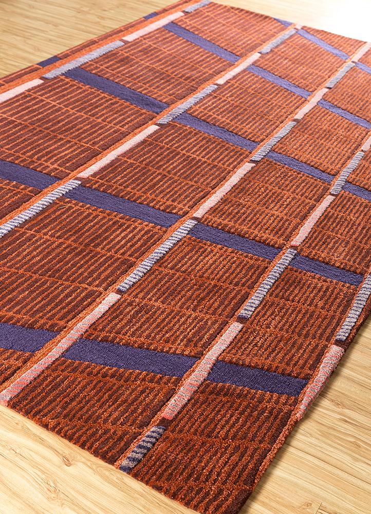 jaipur wunderkammer red and orange wool and viscose hand tufted Rug - FloorShot
