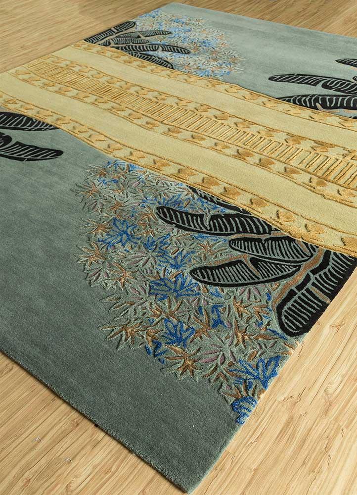 jaipur wunderkammer green wool and viscose hand tufted Rug - FloorShot