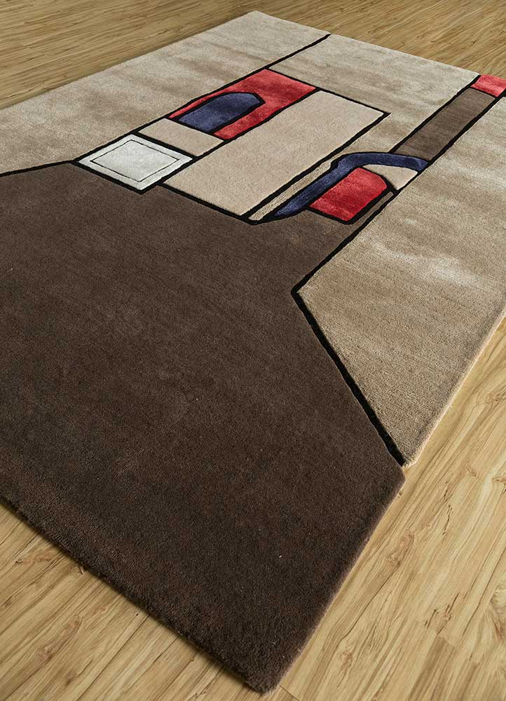 concoction beige and brown wool and viscose hand tufted Rug - FloorShot