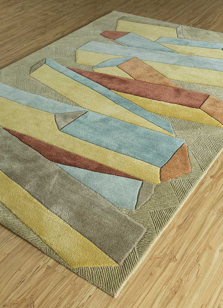 archetype gold wool and viscose hand tufted Rug - FloorShot