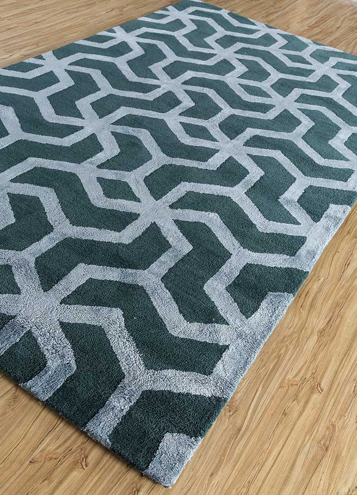contour blue wool and viscose hand tufted Rug - FloorShot