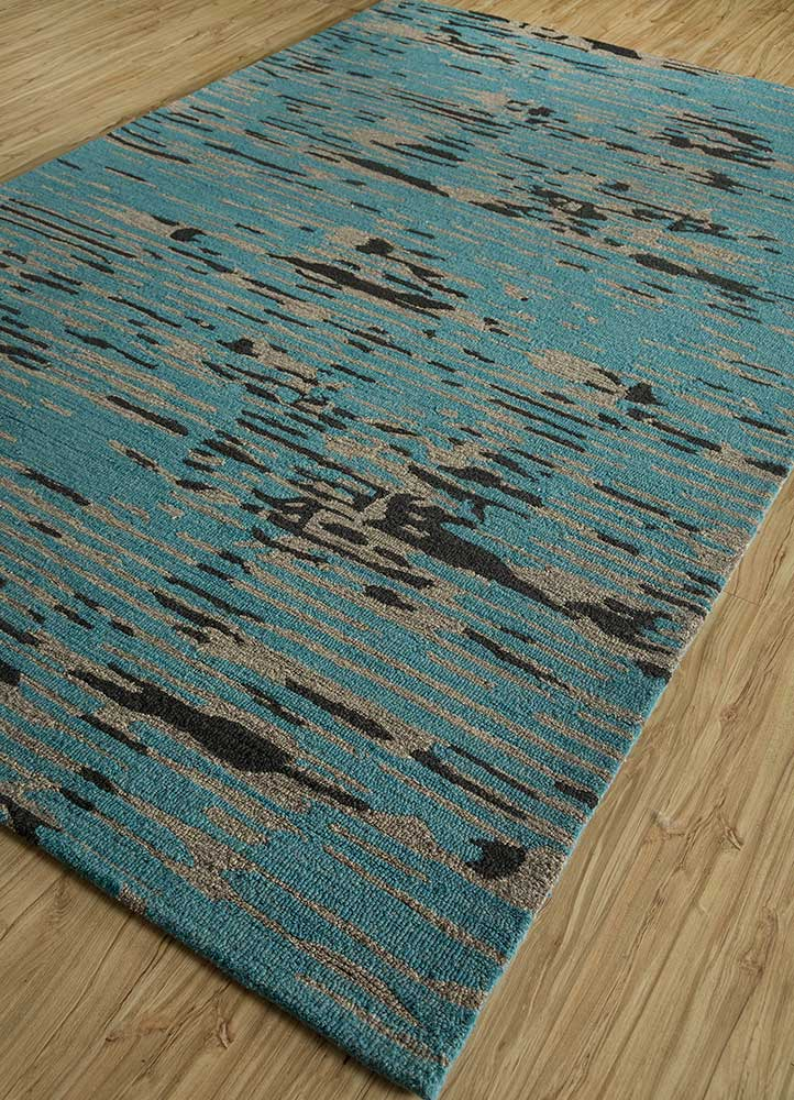 transcend blue wool and bamboo silk hand tufted Rug - FloorShot