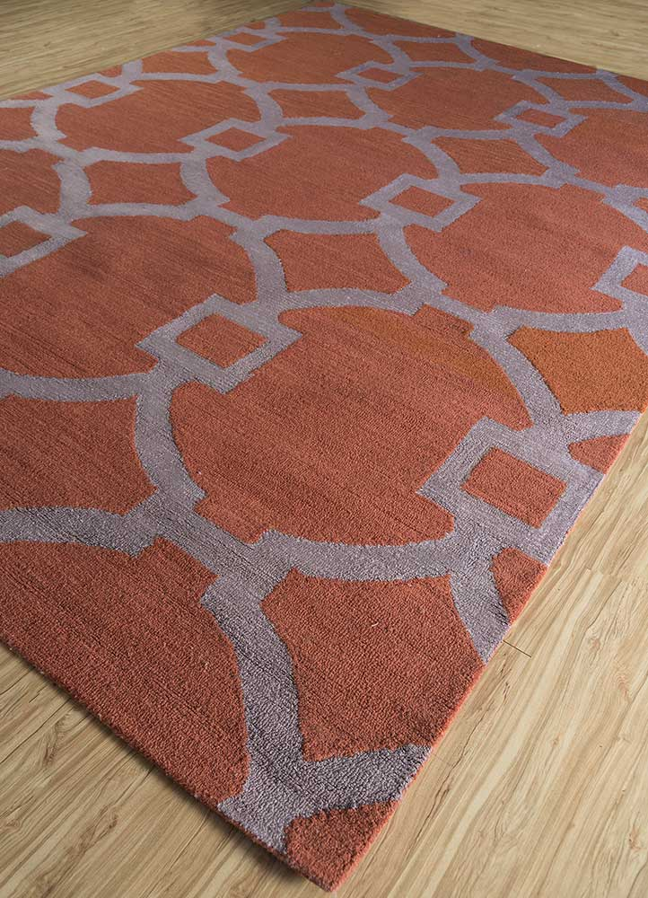 contour red and orange wool and bamboo silk hand tufted Rug - FloorShot