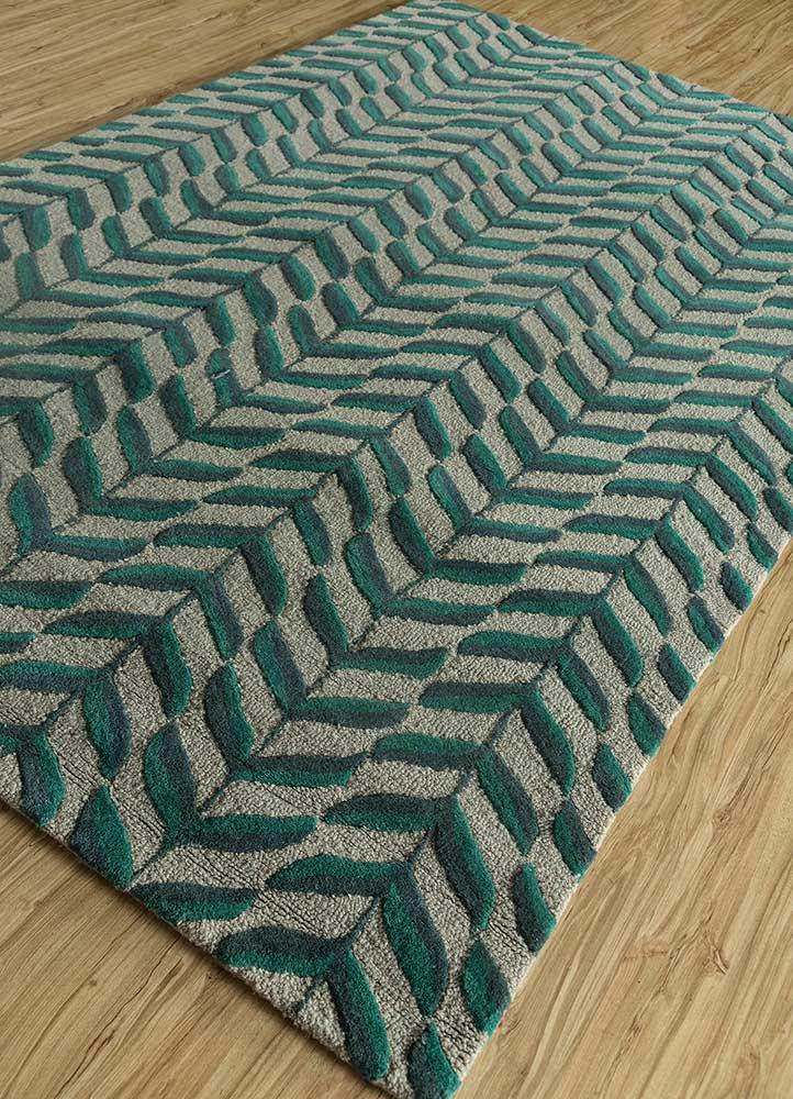 coastal green wool hand tufted Rug - FloorShot