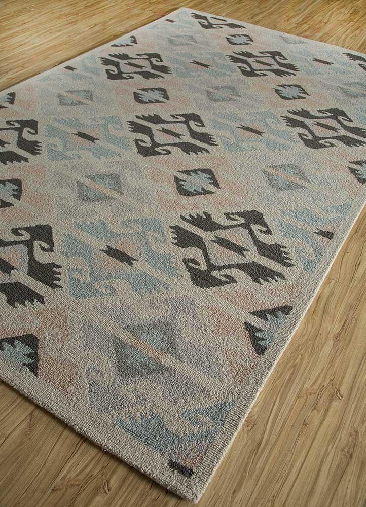 mythos blue wool and bamboo silk hand tufted Rug - FloorShot