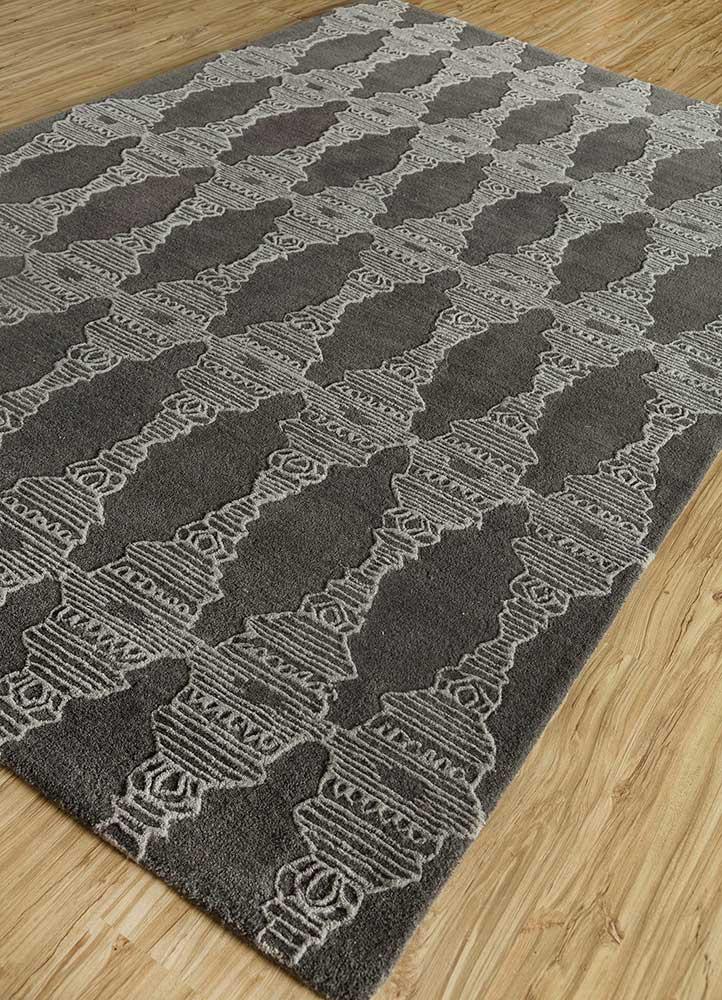 traverse grey and black wool hand tufted Rug - FloorShot