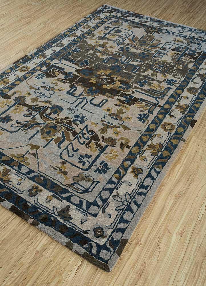 kilan blue wool hand tufted Rug - FloorShot