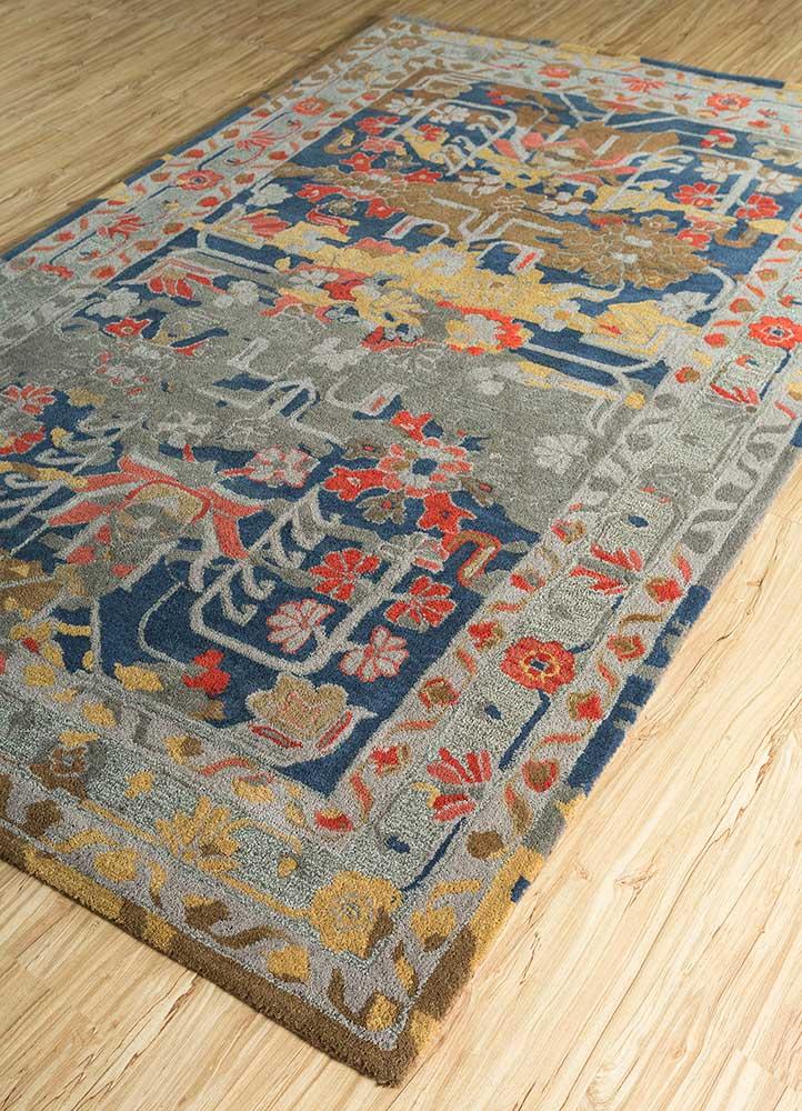 kilan beige and brown wool hand tufted Rug - FloorShot