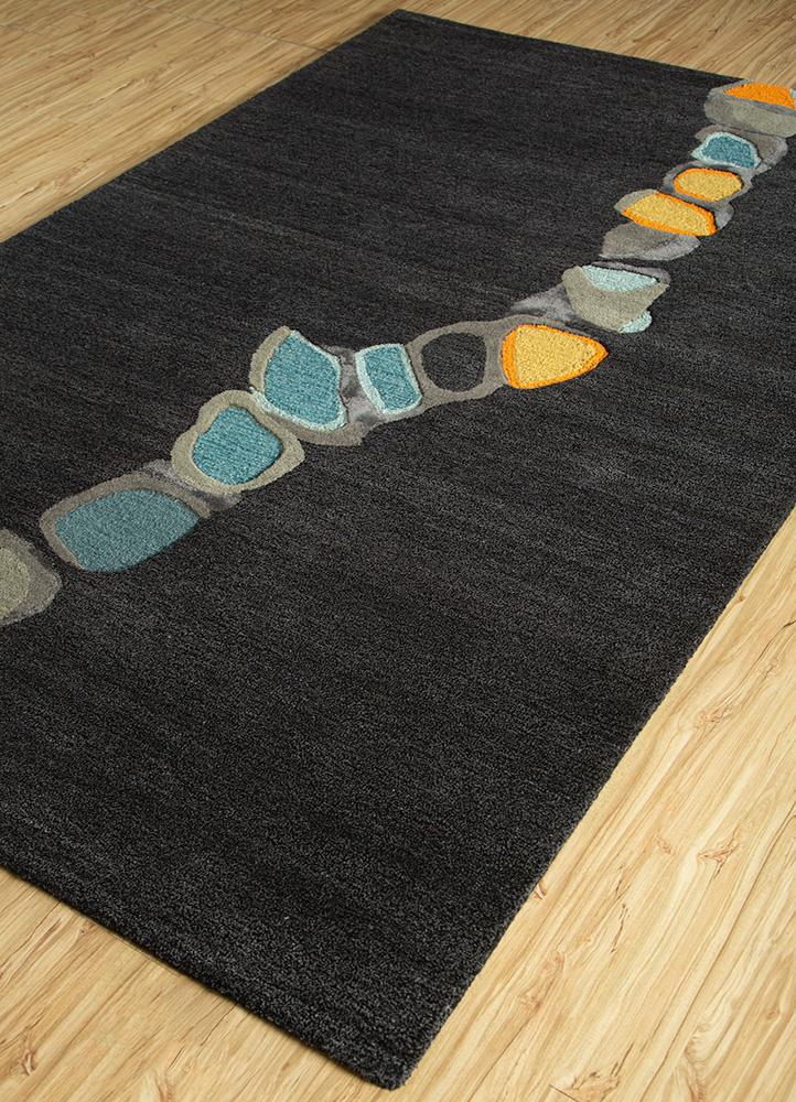 traverse grey and black wool and viscose hand tufted Rug - FloorShot