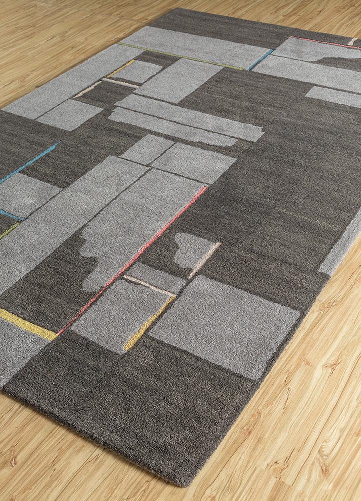 traverse grey and black wool and bamboo silk hand tufted Rug - FloorShot