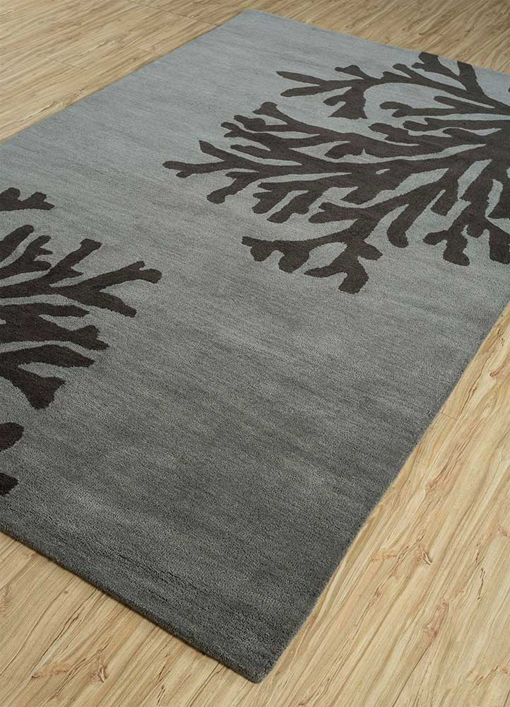 coastal grey and black wool hand tufted Rug - FloorShot