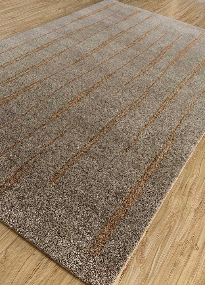 shudd beige and brown wool hand tufted Rug - FloorShot