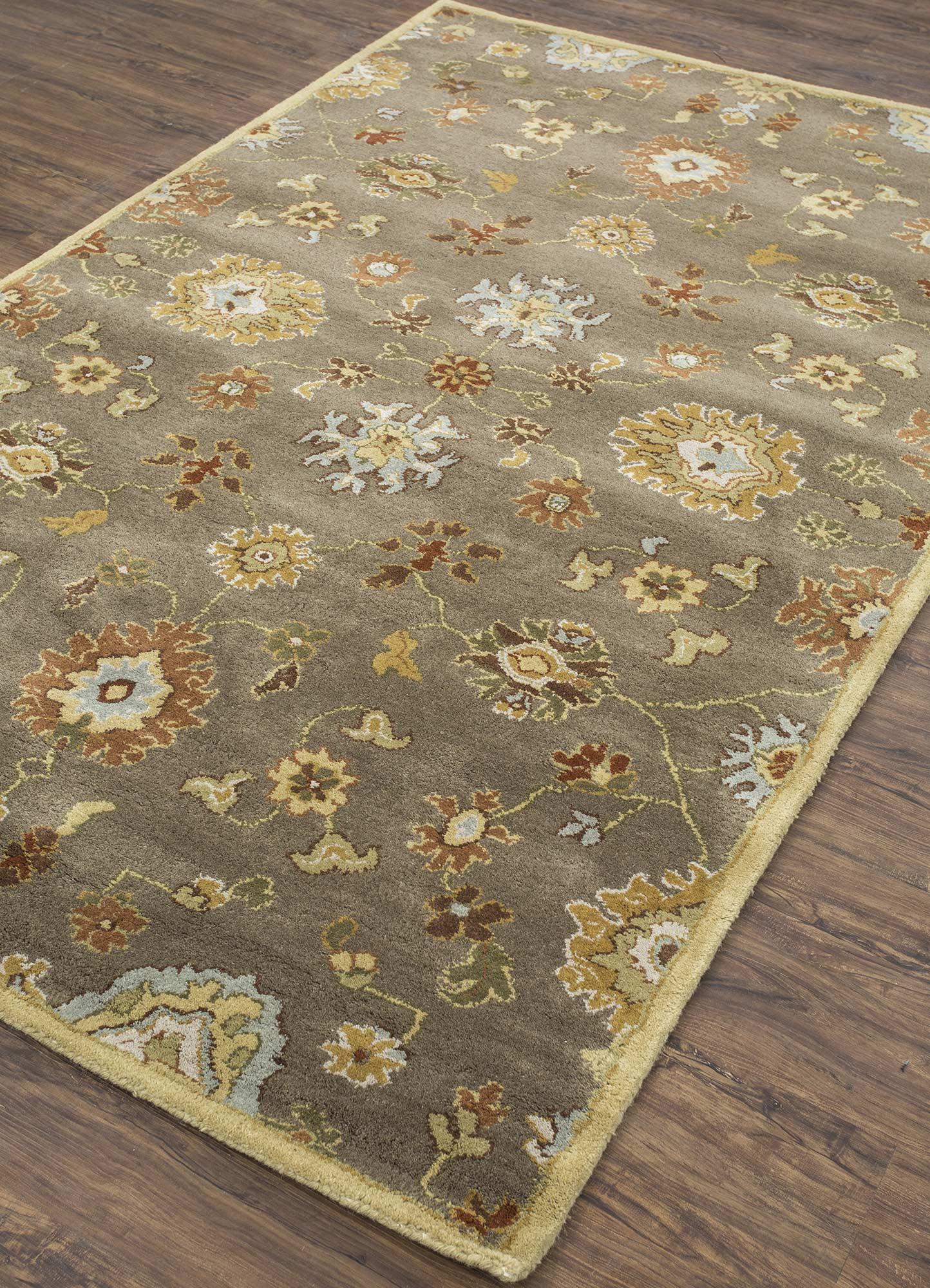 mythos beige and brown wool hand tufted Rug - FloorShot