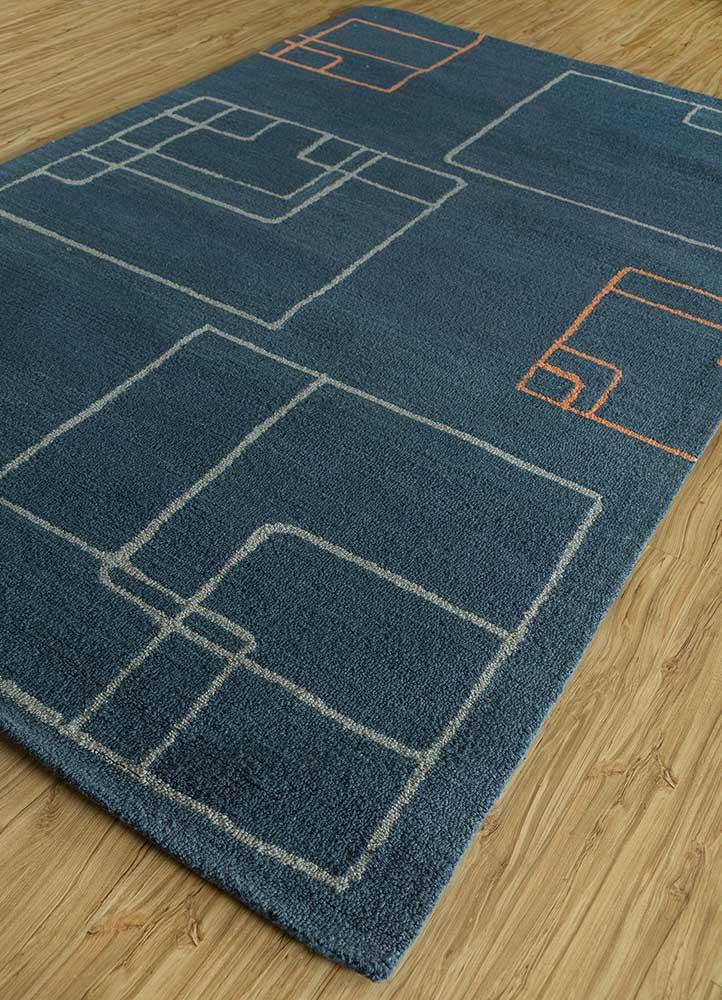 traverse blue wool hand tufted Rug - FloorShot