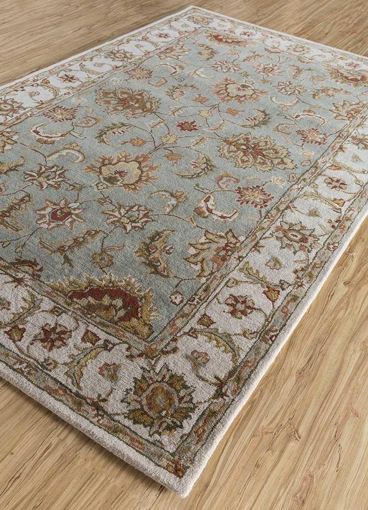 mythos blue wool hand tufted Rug - FloorShot