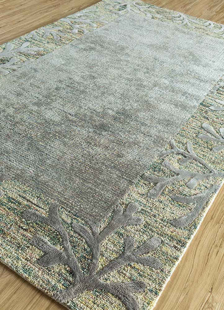 coastal green wool and viscose hand tufted Rug - FloorShot