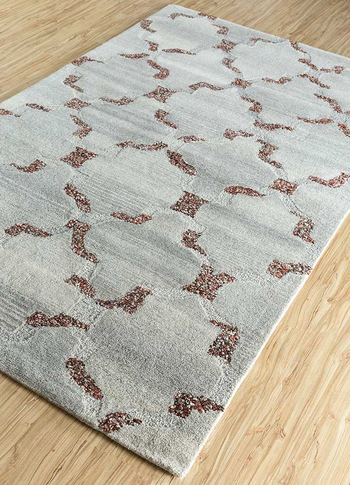 contour beige and brown wool and viscose hand tufted Rug - FloorShot