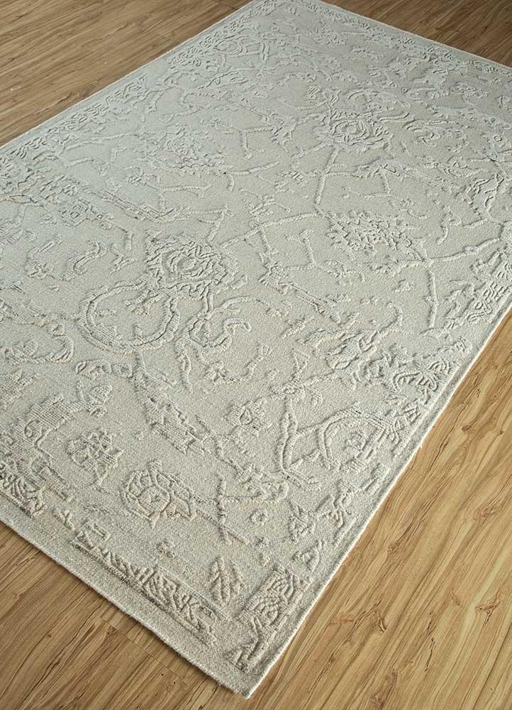 eden ivory wool hand knotted Rug - FloorShot