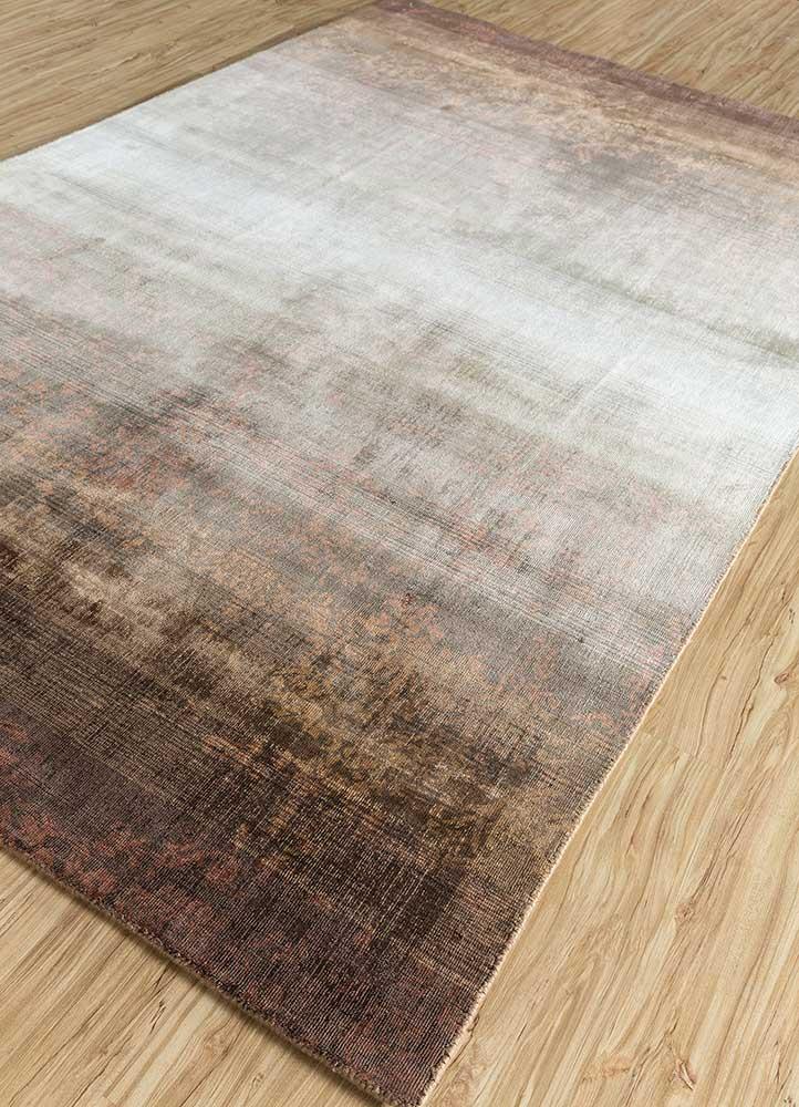 oxford beige and brown viscose hand loom Rug - FloorShot
