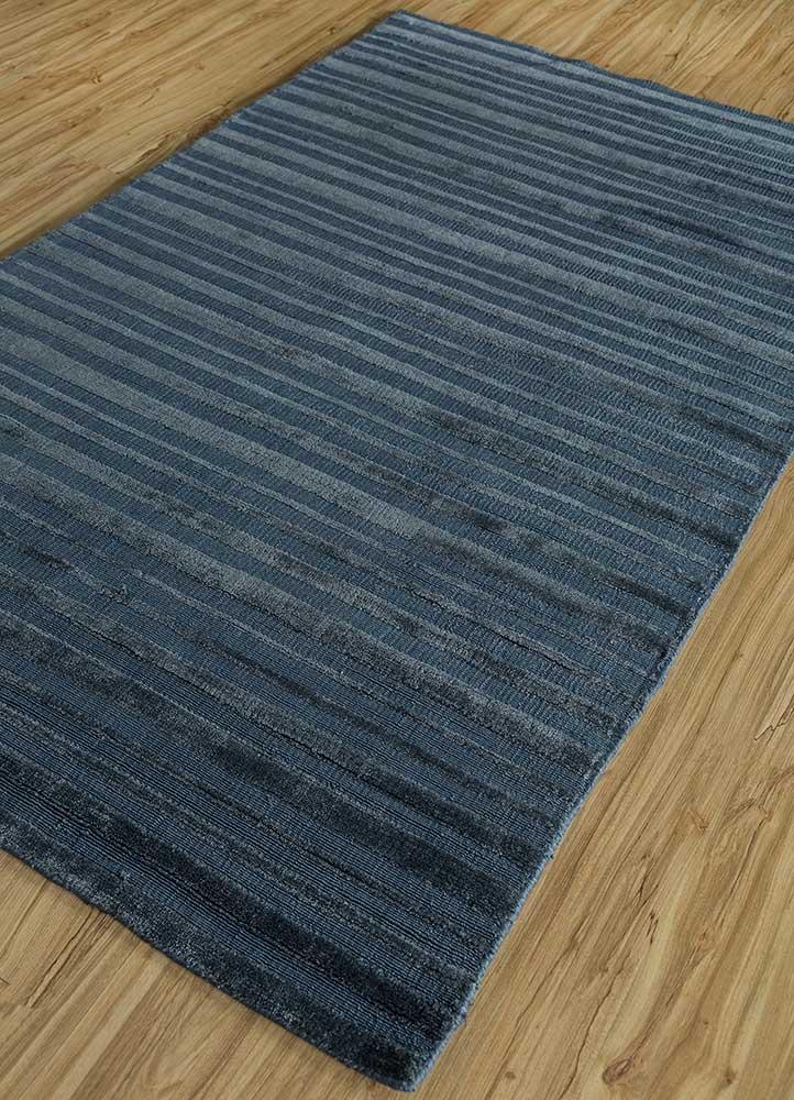 konstrukt blue bamboo silk hand loom Rug - FloorShot