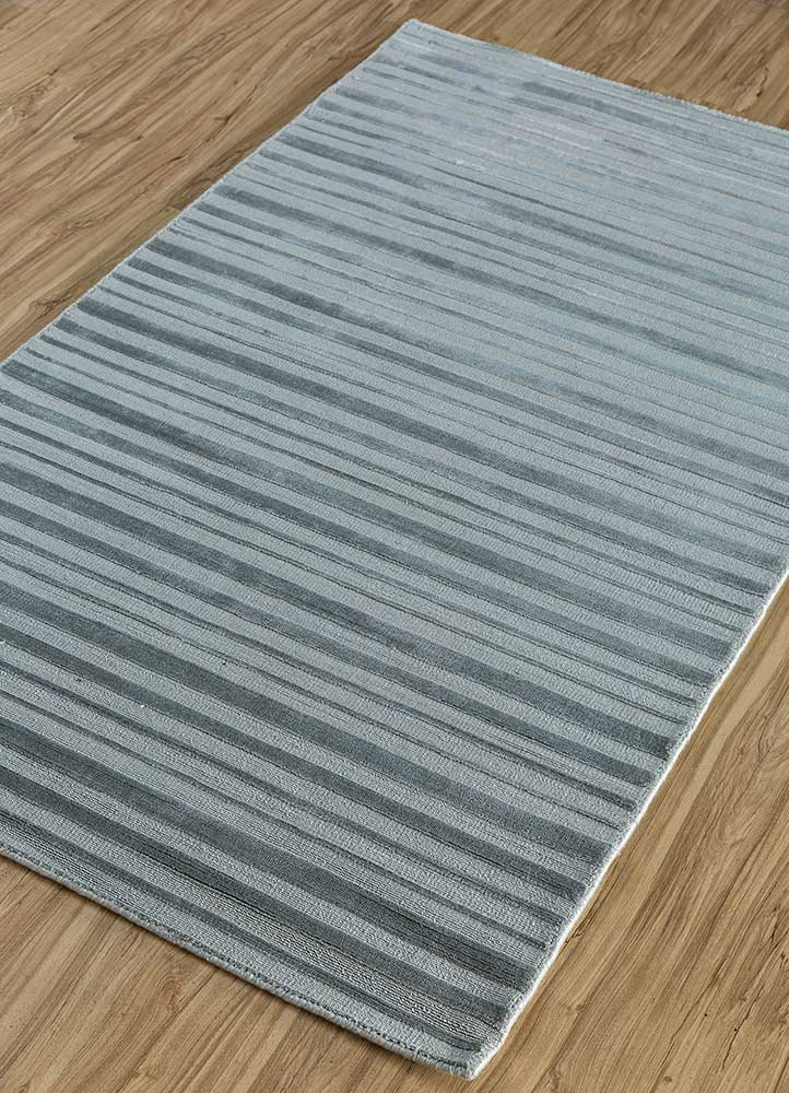 basis grey and black viscose hand loom Rug - FloorShot