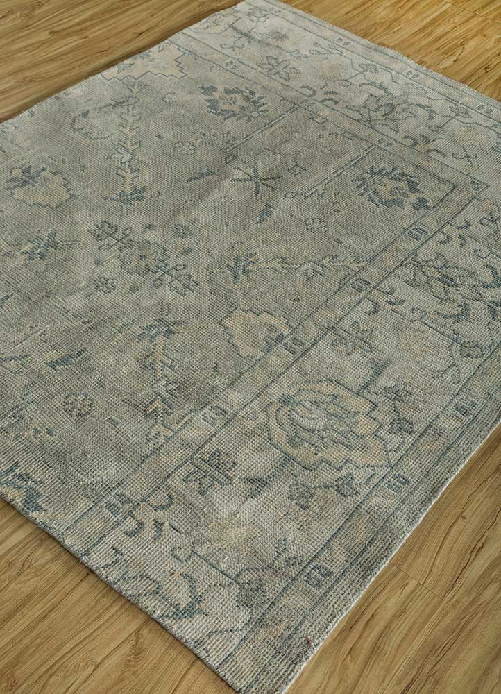 liberty blue polyester hand knotted Rug - FloorShot