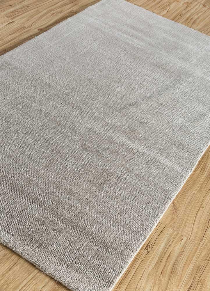 konstrukt grey and black wool and bamboo silk hand loom Rug - FloorShot