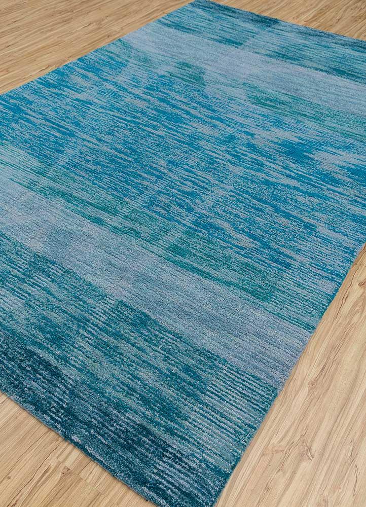 transcend blue wool hand tufted Rug - FloorShot